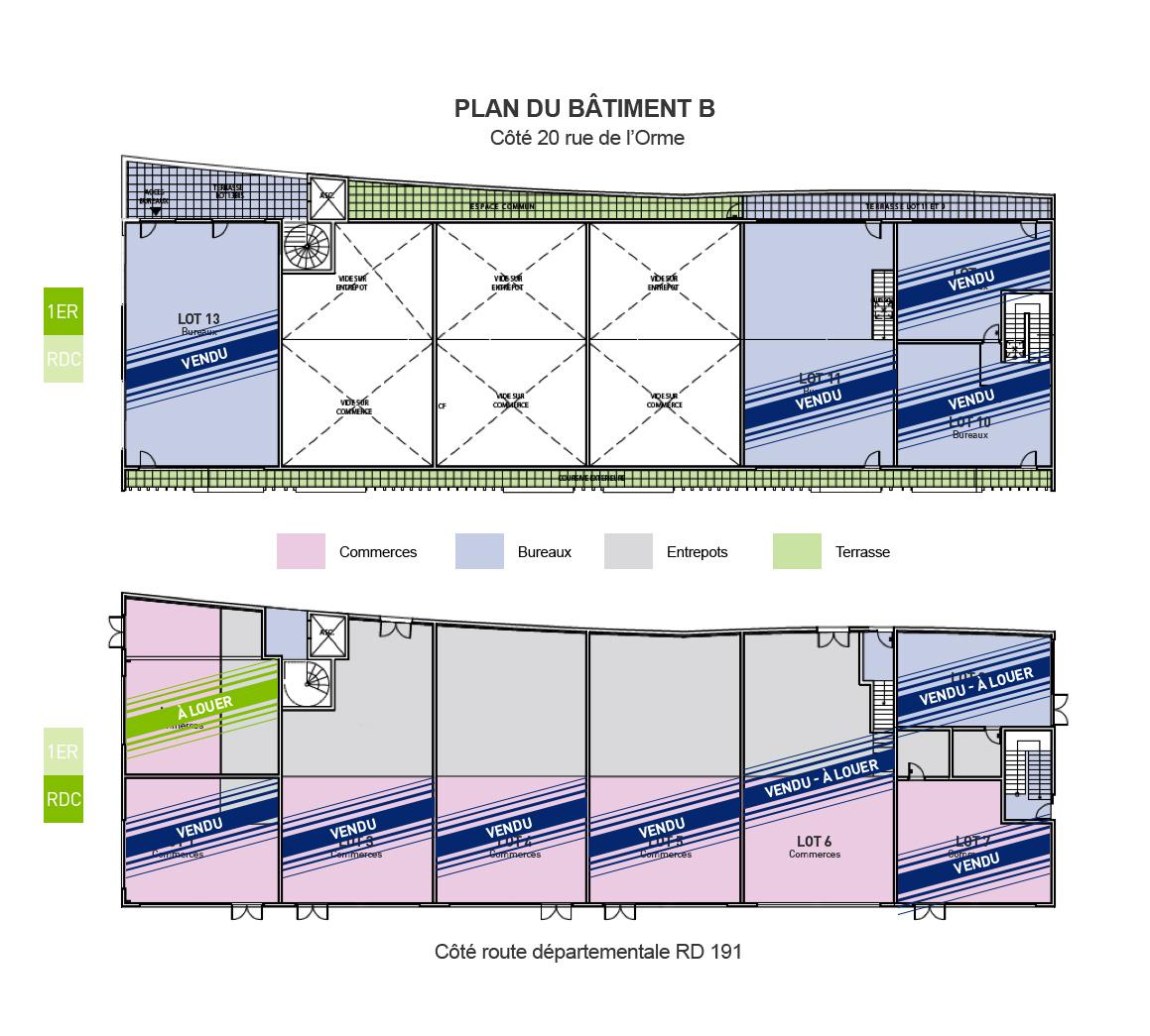 Adhika - Plan du batiment et lots Fontenay-Le-Vicomte